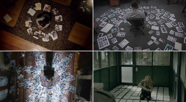 Collages op de grond. Met de klok mee vanaf linksboven informatieverzamelingen uit de series: Clarice, Luther, The Bridge en Homeland.  Beeld