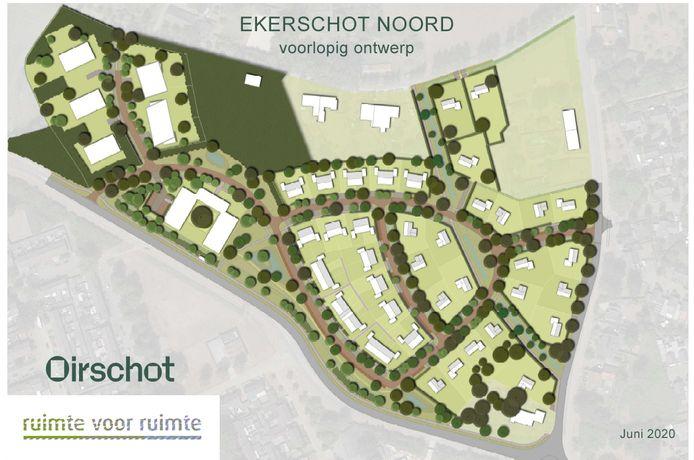 Een voorlopig ontwerp van het plangebied van de nieuwbouwwijk Ekerschot-Noord in Oirschot. Aan de zuidkant de Kempenweg, rechts de Oude Grintweg. Aan de westkant van het plangebied de 52 appartementen. Daar rechts schuin onder de woonzorglocatie van Cello Zorg.