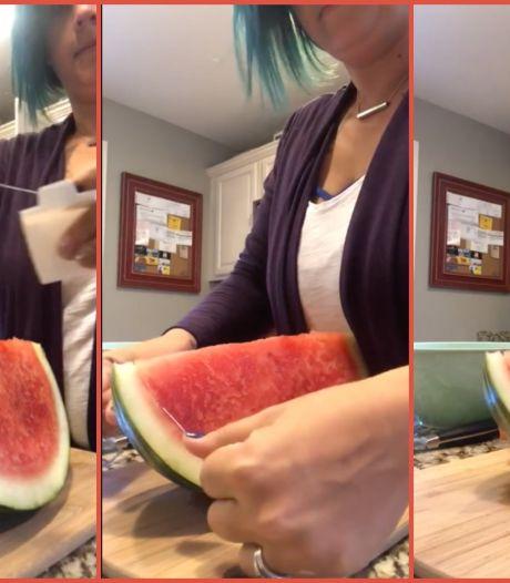 Watermeloen snijden? Met deze slimme manier heb je geen mes nodig