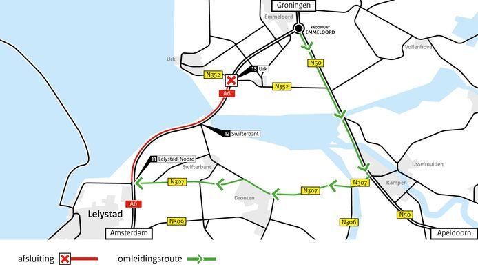 De A6 tussen Urk en Lelystad is komend weekeinde gesloten. Verkeer dient om te rijden via Kampen.