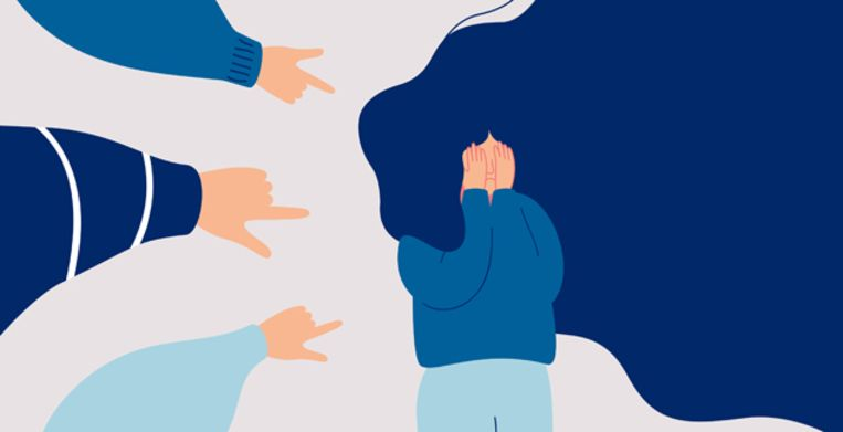 Children engage in bullying behavior towards a school girl. Depressed girl cries and covers her face with her hands. Female surrounded by the hands of her peers pointing at her. Human character vector Beeld Getty Images/iStockphoto
