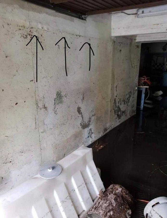 L'eau est montée jusqu'à la hauteur des flèches dans la cave de la famille Schwarzenberg située à la rue de la Broucheterre à Charleroi