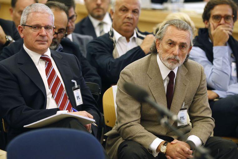 Francisco Correa in de rechtszaal in San Fernando de Henares, in de buurt van Madrid. Beeld AFP