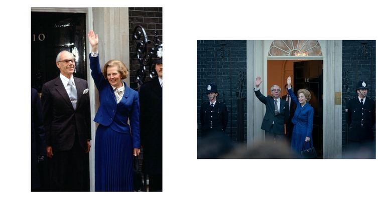Links: Margaret Thatcher bij haar benoeming in 1979. Rechts: still uit de serie. Beeld Netflix/Getty