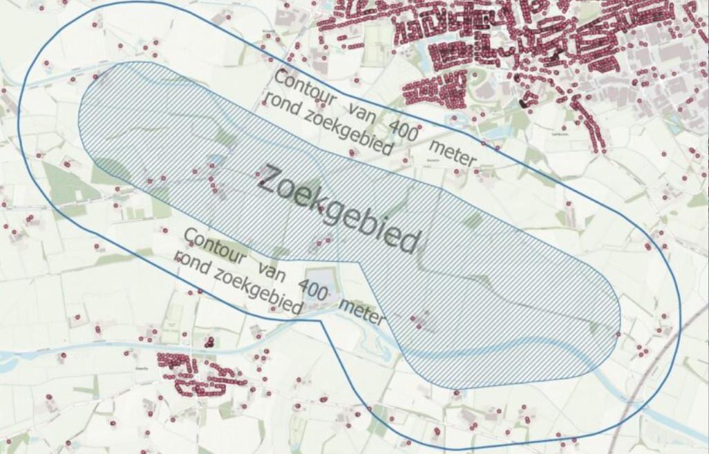 Zoekgebied project Windpark Avinkstuw tussen Neede en Haarlo, met de contouren van de 400-meterzone rond de locaties van de vijf beoogde windturbines.
