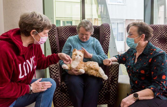 Jeanne van Beers (l) en Corina van Woensel (r)  hebben een actie opgezet om robothonden en -poezen bij dementerenden en eenzame ouderen te krijgen zodat ze toch kunnen knuffelen. In het midden Nel van Oirschot, met de robotpoes.