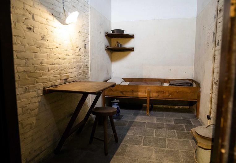 Dodencel 601 in het gerestaureerde cellencomplex van het Oranjehotel, de bijnaam voor de gevangenis van Scheveningen tijdens de Tweede Wereldoorlog, in Den Haag, 4 september 2019. De belangrijkste Duitse gevangenis op Nederlands grondgebied tijdens de Tweede Wereldoorlog II opende zijn deuren voor het publiek op 7 september 2019. Beeld EPA