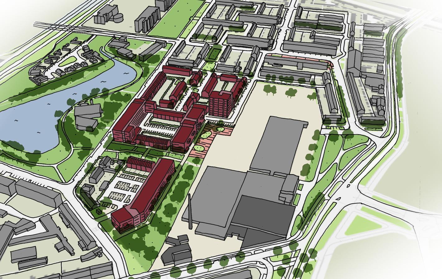 Invulling van het Eureka-woongebied in Breda. In het rood het nieuwe wijkje. Links Linievijver, rechtsonder het complex van de oude Faam-fabriek.