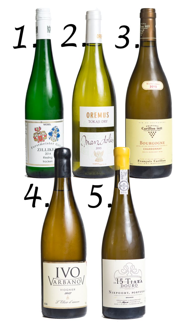1. Zilliken Riesling Trocken 'Forstmeister Geltz', €10,35, www.langbeen.biz 2. Oremus Mandolas 'Vega Sicilia', €18,34, www.labuenavida.be 3. Chardonnay François Carillon, €19,95, www.young-charly.com 4. Viognier Ivo Varbanov Winery, €23,14, www.swaffou.com 5. Tiara Niepoort, €17,19, www.young-charly.com