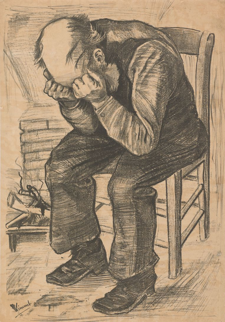 Deze lithografie op papier, 'At Eternity's Gate' (Den Haag, 27 november 1882, 50.0 x 34.2 cm) maakte Van Gogh van de tekening 'Worn out'. Beeld Van Gogh Museum Amsterdam