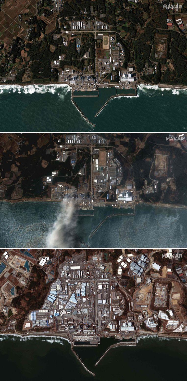 De Daiichi-kerncentrale in Fukushima. Foto boven: in 2009, twee jaar voor de tsunami. Foto midden: drie dagen na de tsunami, in 2011. Foto onder: de kerncentrale nu, in 2021.  Beeld AFP / Maxar Technologies