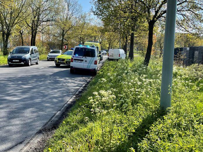Een bestelwagen kwam langs de Beurtkaai in Roeselare in de graskant terecht.
