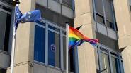 Paarse viooltjes en regenboogvlag aan Oudaan tegen haatmisdrijven