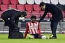 Noni Madueke viel tegen RKC uit. Een hamstringblessure houdt de PSV-aanvaller voorlopig aan de kant.