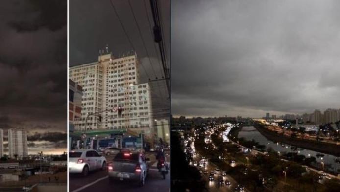 Lundi à 16 heures, São Paulo a été plongée dans l'obscurité à cause de nuages noircis par la fumée des feux de forêt