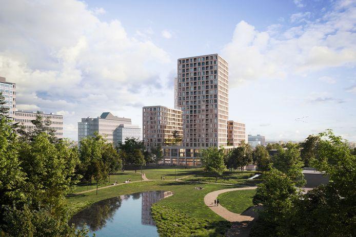 Wooncomplex Alexanderpark aan de Hoofdweg 480-490 gezien vanuit het Semiramispark.