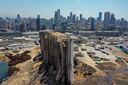 Luchtbeeld van de haven van Beirut.