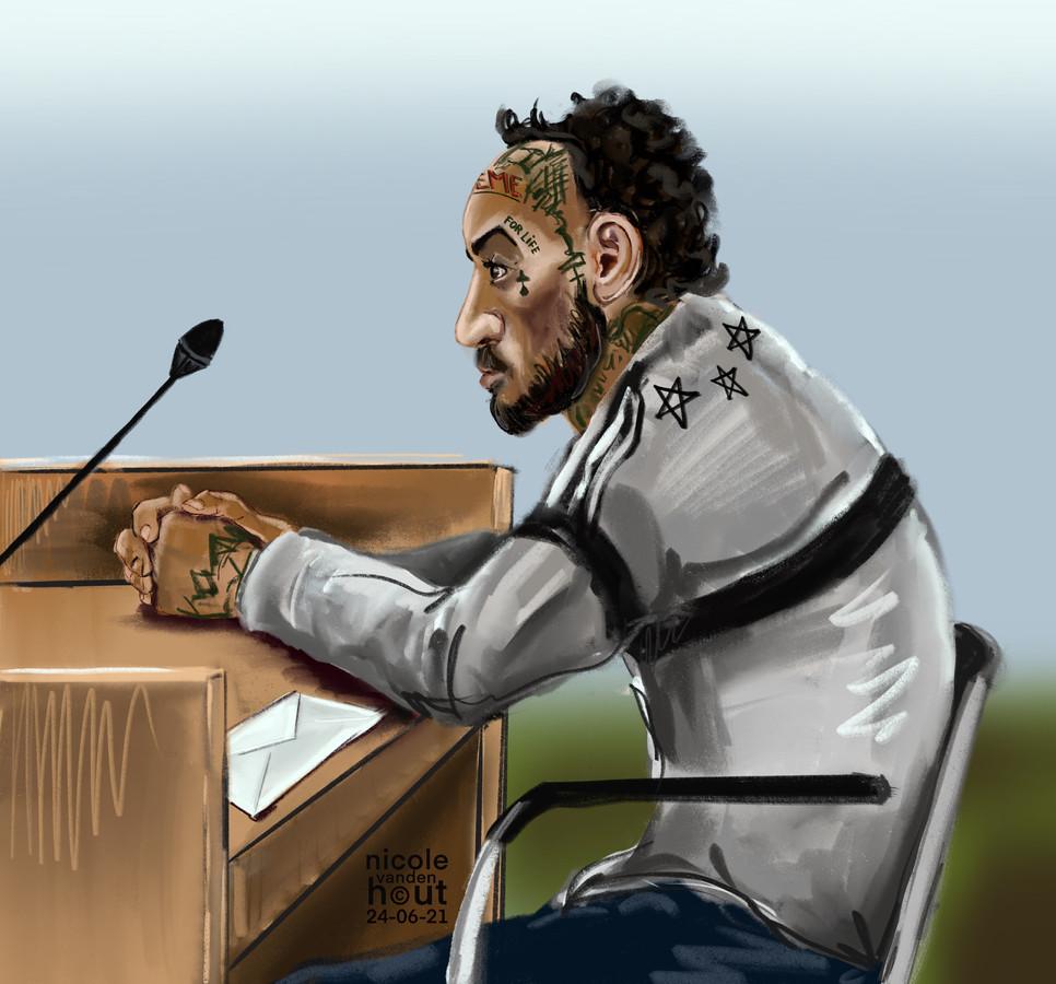 Brian N. tijdens de rechtszaak.
