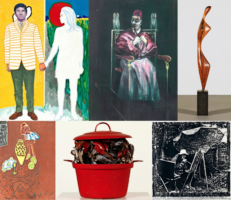 Een greep uit de kunstwerken in de expo 'Be Modern', van Roger Raveel (l.b.) tot Rinus Van de Velde (r.o.). © KMSKB, Brussel Beeld ??