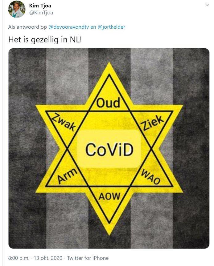 Kim Tjoa, nummer 2 op de kieslijst van WIJ! Oisterwijk, twitterde een Jodenster met 'Covid' in het hart en de toevoeging 'Het is gezellig in NL!'.