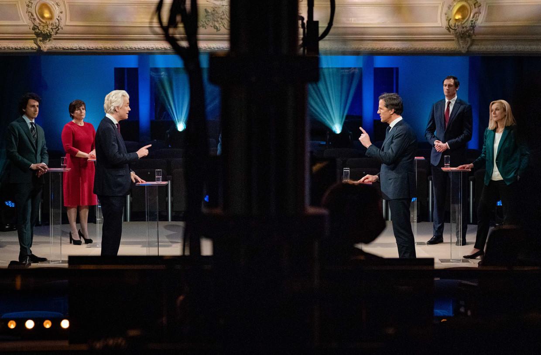 Maandagavond gingen de kopstukken in debat bij 'EenVandaag', dinsdagavond bij de NOS. Beeld ANP