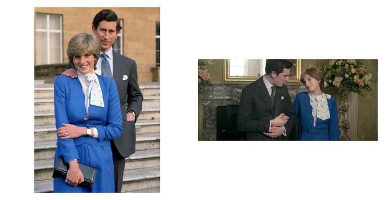Links: Prins Charles en Lady Diana Spencer (later prinses Diana) in 1981, bij Buckingham Palace op de dag dat zij hun verloving aankondigden. Rechts: still uit de serie. Beeld Netflix/Getty