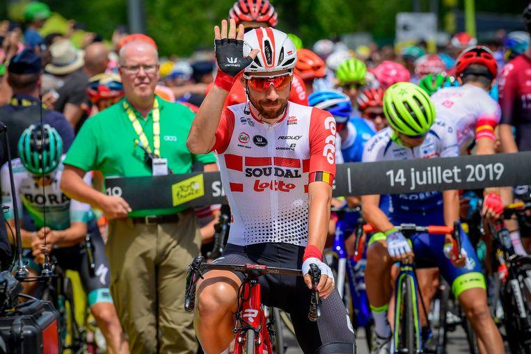 De Gendt bij de start in Saint-Étienne.  Beeld Photo News