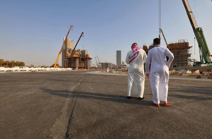 Het Jeddah Street Circuit in aanbouw.