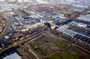 Luchtfoto van het veilingterrein in Naaldwijk.