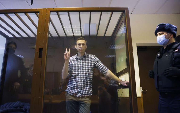 Alexej Navalny verscheen eerder deze maand in de rechtbank voor een hoger beroep in zijn zaak. Beeld REUTERS