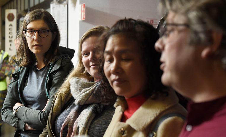 Vervaeke op de persconferentie na afloop van haar quarantaine in het militair hospitaal in Neder-Over-Heembeek. Beeld Photo News