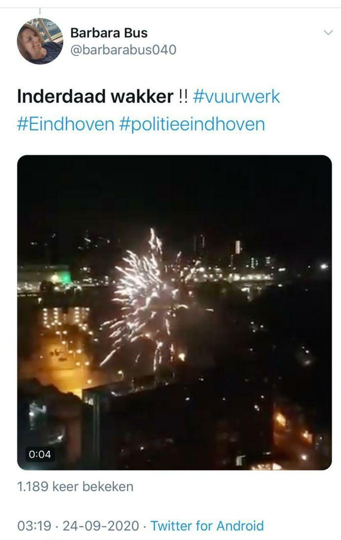 Nachtelijk vuurwerk bij het spelershotel van Rangers in Eindhoven.