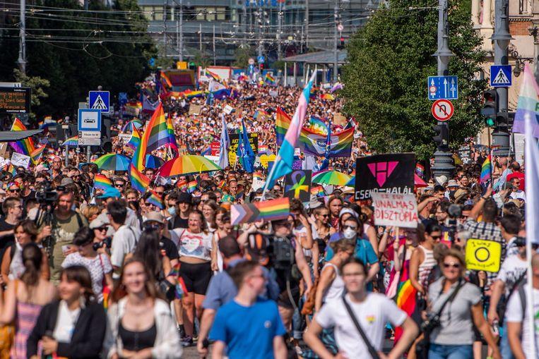 Demonstranten in Boedapest. Beeld EPA
