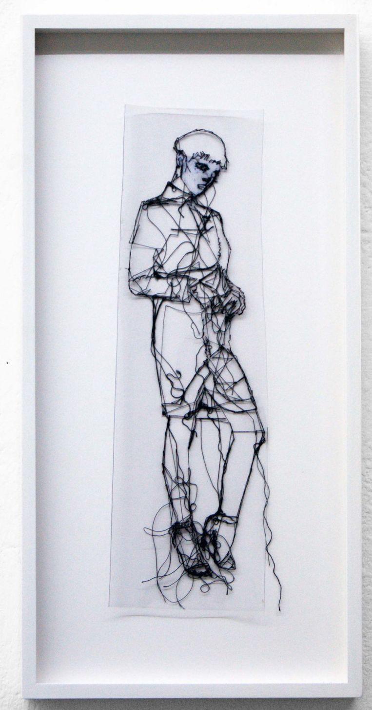 Transparante borduurtekening Lex Barbarorum V (2017) van Saminte Ekeland. Beeld Frank Taal Galerie