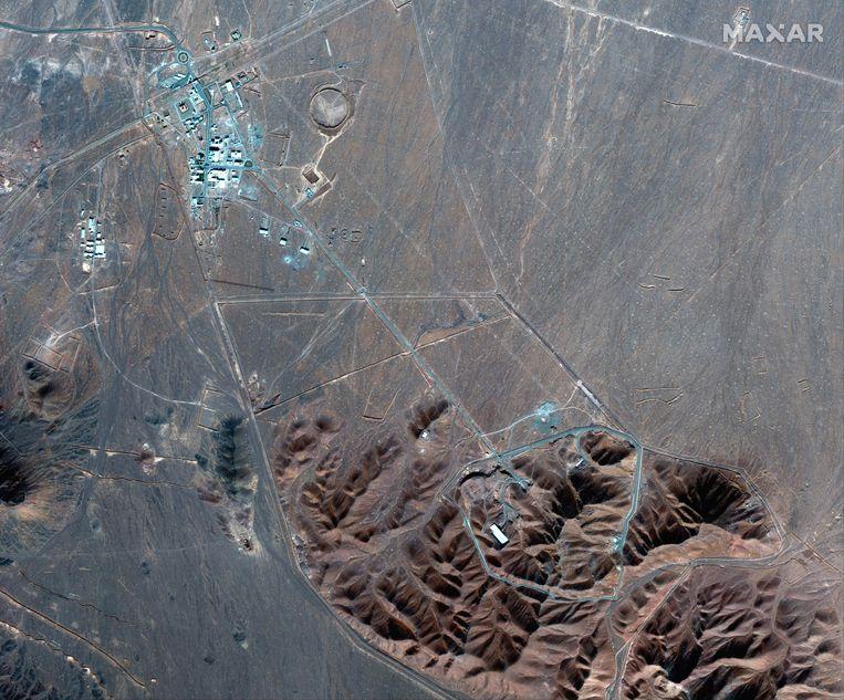 Satellietbeelden van verrijkingsfabriek Fordow. Beeld AP