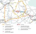 De alternatieve routes die Rijkswaterstaat voorstelt.