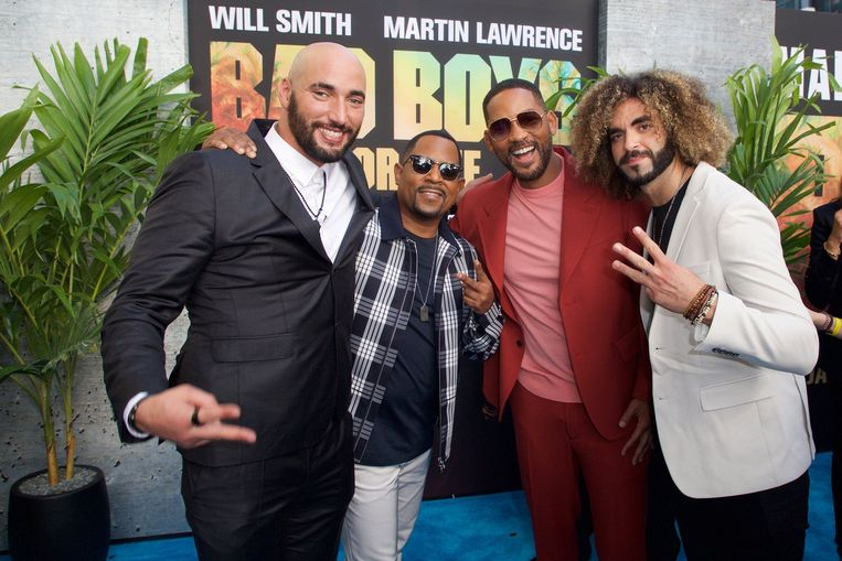 Bilall Fallah, Martin Lawrence , Will Smith en Adil El Arbi op de première van 'Bad Boys for Life in Miami Beach, Florida. Beeld Photo News