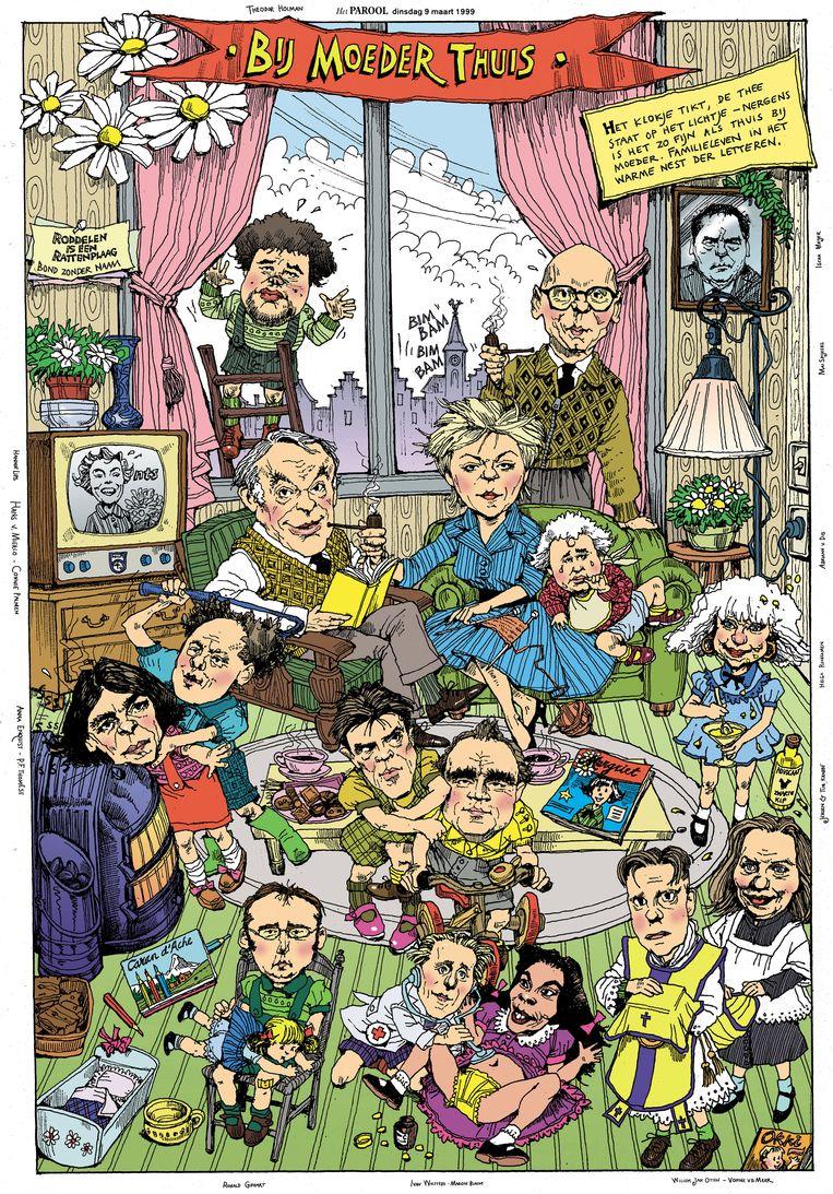 Illustratie naar aanleiding van het Boekenweekthema Familiealbum in 1999.  Beeld