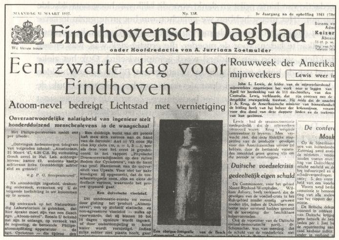 De voorpagina van het Eindhovensch Dagblad van 31 maart 1947.