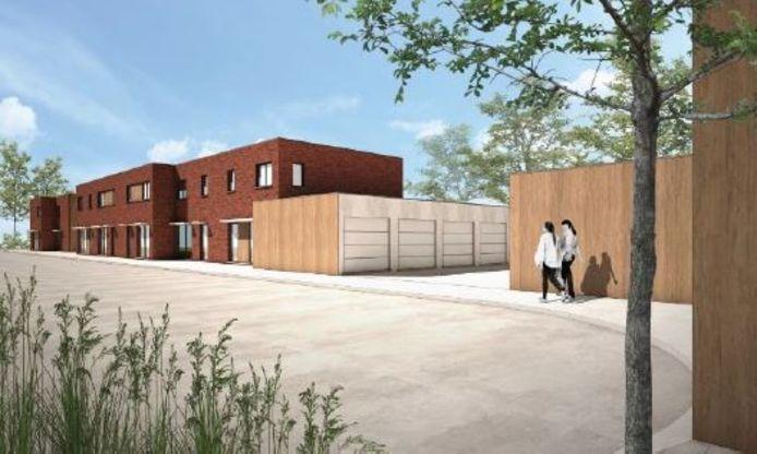 Een simulatie van de nieuwe woningen aan de Diswegel en Kwarteldreef. Je ziet ook de gegroepeerde garageboxen.