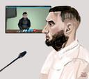 Emin Y. (voorgrond) en Ali Z. (op het scherm) tijdens een eerdere zitting bij de rechtbank in Zwolle.