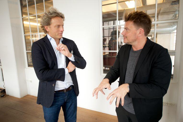 Fokke de Jong (links) en architect Bjarke Ingels (rechts). Beeld Michiel Van Nieuwkerk