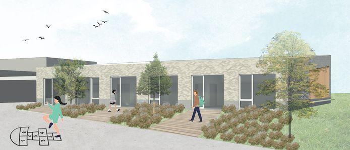 Een conceptbeeld van de nieuwbouw die de Heilige Familieschool wil plaatsen.