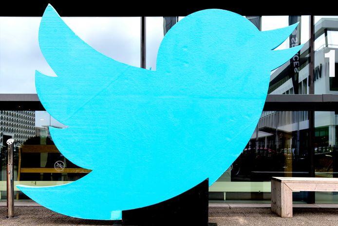 Het logo bij het Twitter-kantoor in Amsterdam.