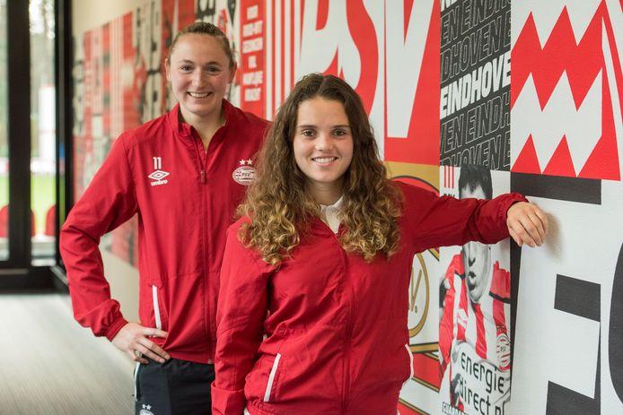 Jeslynn Kuijpers (voorgrond) en Nadia Coolen zijn bezig aan hun achtste seizoen bij PSV en kunnen deze maand hun eerste prijs winnen.