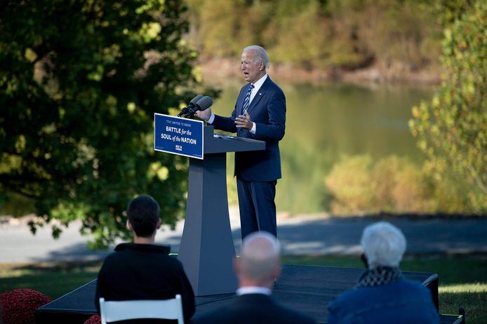 Biden bij zijn toespraak in Gettysburg.