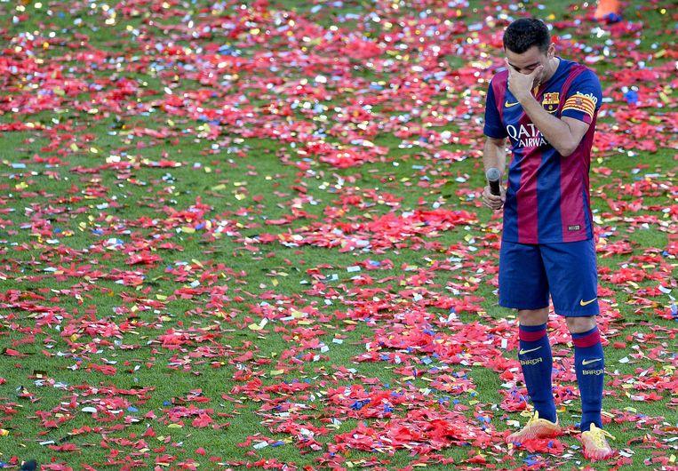 Xavi tijdens zijn afscheid bij FC Barcelona.
