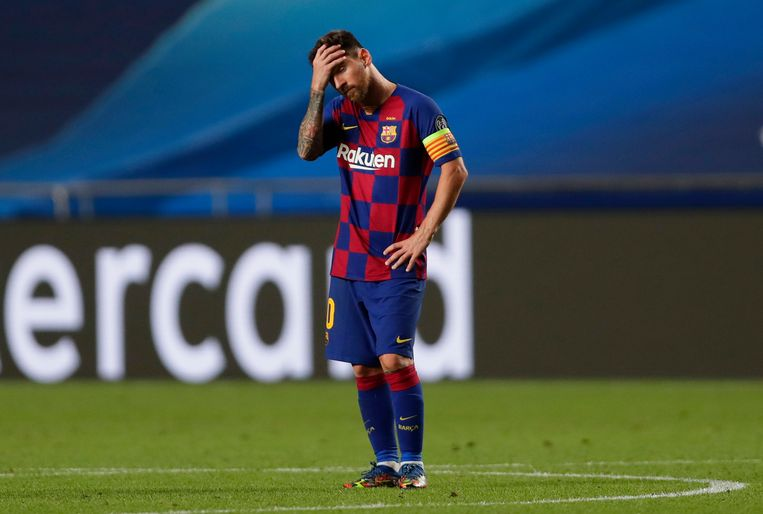Lionel Messi tijdens de kwartfinale van de Champions League tegen Bayern München, 14 augustus. Beeld BSR Agency