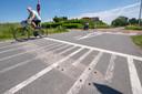 De gaten in het wegdek zijn de stille getuigen. De drempels bij de kruising Rijkerswoerdsestraat-RijnWaalpad zijn gestolen.
