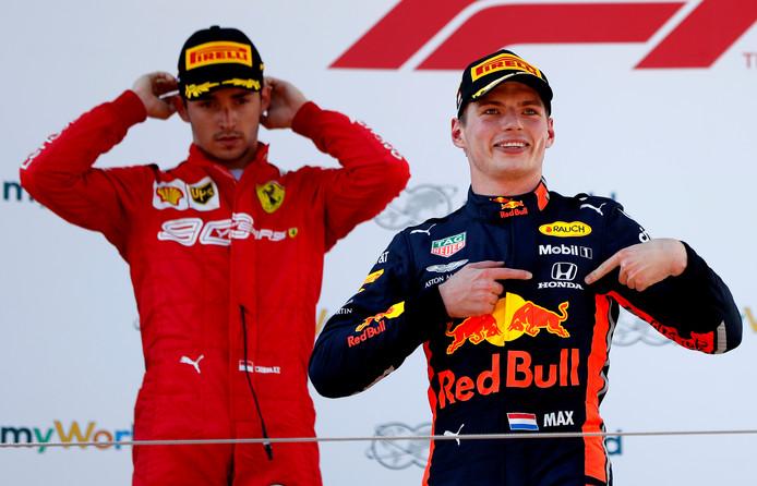Max Verstappen na zijn zege in de Grand Prix van Oostenrijk.